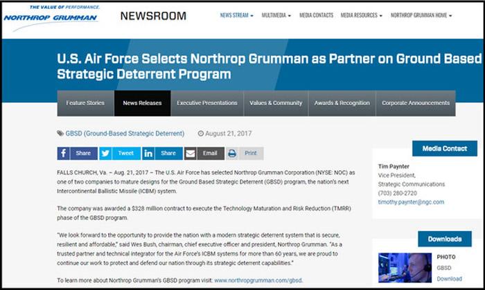 诺格公司在官网上发布签约消息,执行长表示,能为国家提供军事技术感到自豪。