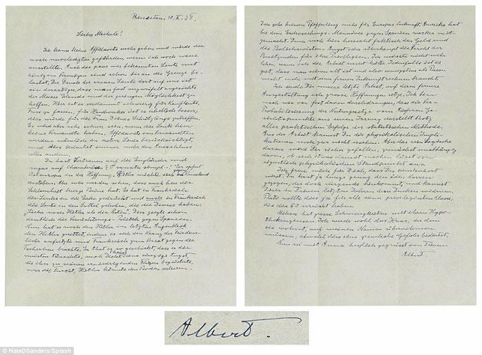 爱因斯坦亲笔信拍卖 内容曝光诉说二战前恐惧