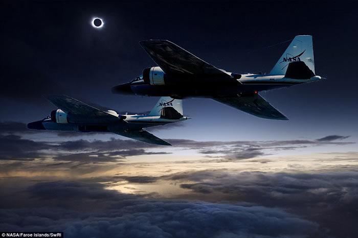 美国NASA公布5万英尺高空上的观测飞机WB-57F拍摄的日全食红外线照片 有助日冕研究