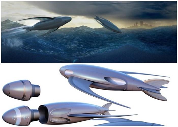 有学生设计出似是飞鱼的概念潜艇。
