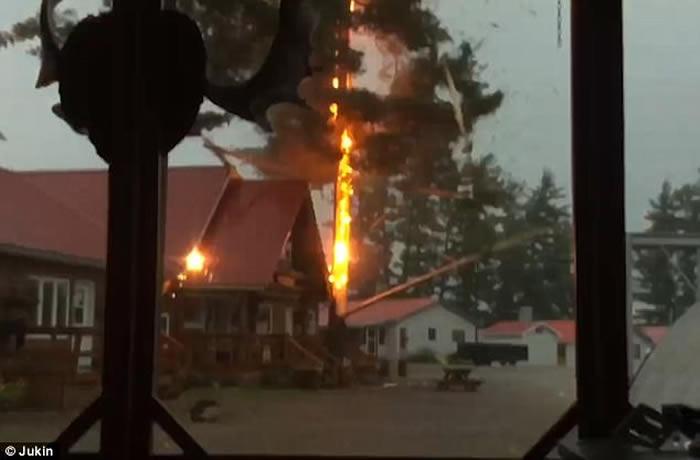 加拿大魁北克省大树被雷电击中形成强光 场面震撼