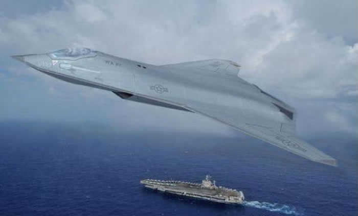 美国诺思罗普公司构想中的第六代战机绘制图。