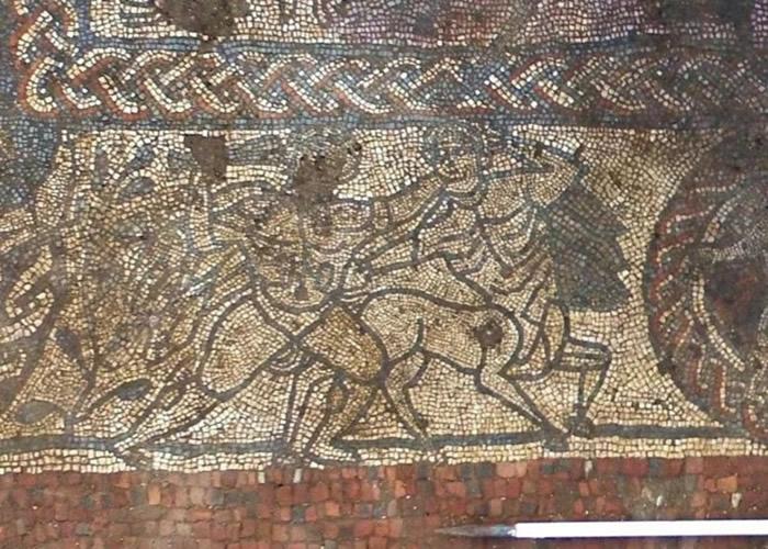 考古小组发现一幅珍贵的马赛克画。