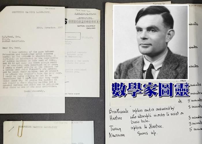 英国曼彻斯特大学早前意外发现一批属于图灵(小图)的书信。