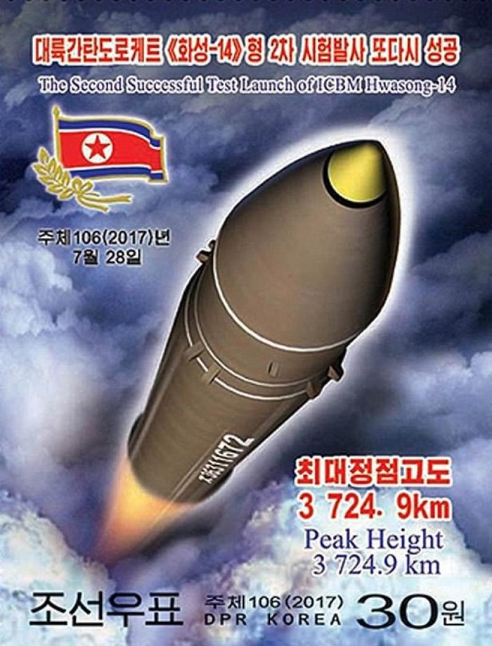 邮票列出导弹的飞行数据。