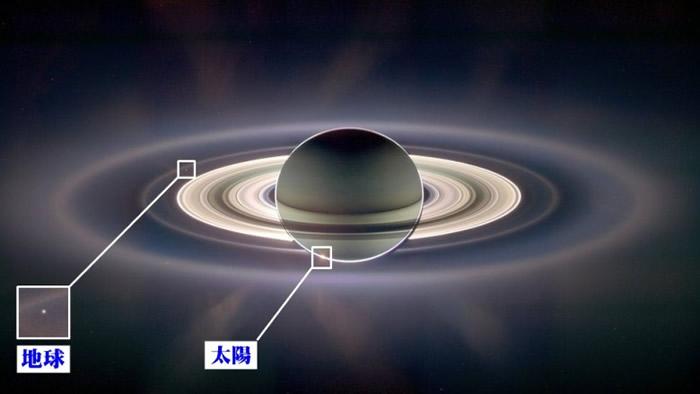 科学家利用卡西尼号拍下的165张相片,拼出这张可同时看到地球及太阳的照片。