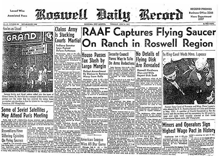桑蒂利声称片段是来源自罗斯韦尔不明物体坠毁事件,图为当时的新闻报道。