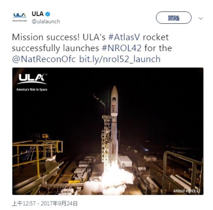 图为有关ULA发射火箭的贴文。