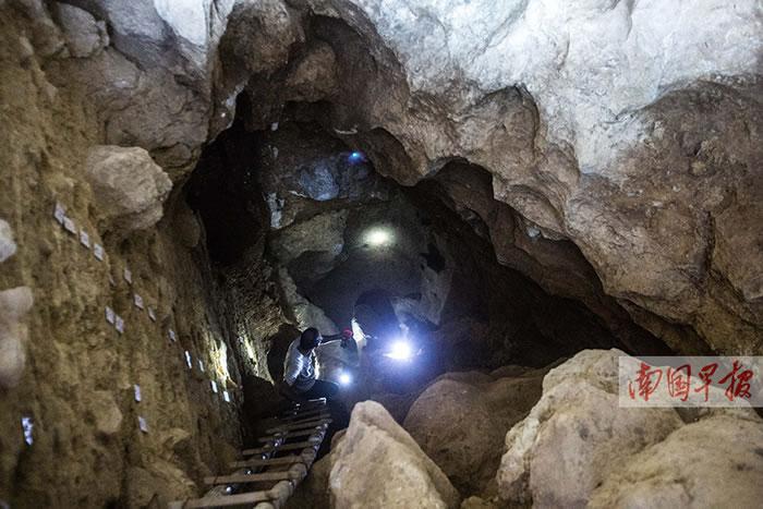 娅怀洞遗址A区呈垂直洞穴状,深约8米。 记者 邹财麟摄