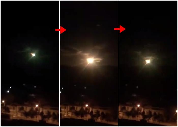网民拍到疑似巨型陨石从高空掉下的过程。