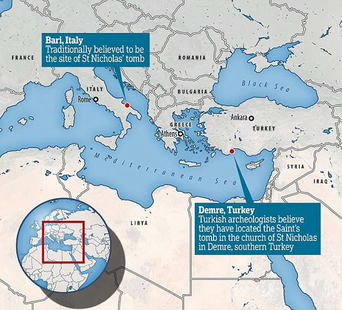 """考古学家称圣诞老人""""真身""""基督宗教圣人St. Nicholas遗骨在土耳其安塔利亚"""