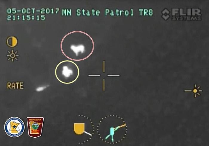 格雷斯(红圈)不断走动,吸引直升机注意到男童(黄圈)。