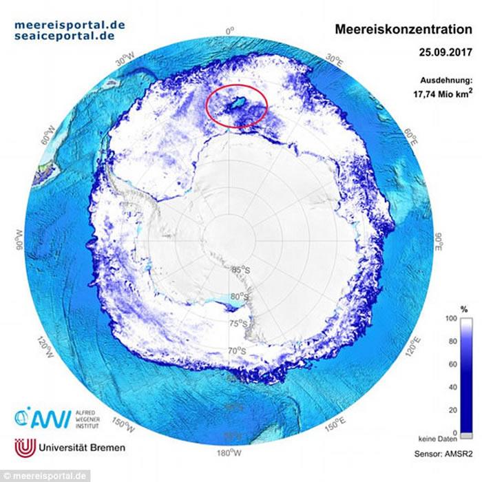 威德尔海冰湖(红圈示)的面积巨大。