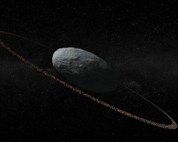 根据最新发现所绘制的想像图。在妊神星这颗矮行星的周围有由碎片组成的细薄环带。 ILLUSTRATION IAA-CSIC/UHU