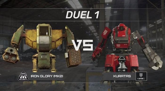 第一回合由Iron Glory(左)与Kuratas(右)对战。