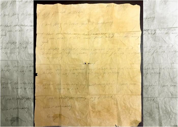乔治在信件中表示定必会惦挂艾琳。