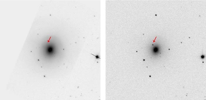 左图是哈勃太空望远镜在侦测到重力波的四个月前,拍摄到的NGC 4993椭圆星系影像。而右图是智利斯沃普望远镜(Swope Telescope)在2017年8月所