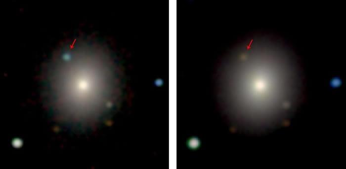 天文学家利用智利的斯沃普和麦哲伦(Magellan)望远镜,记录了这次的中子星爆炸。在可见光波段下,可以看到有个亮点突然出现,然后逐渐黯淡下来。在大约七天后,可