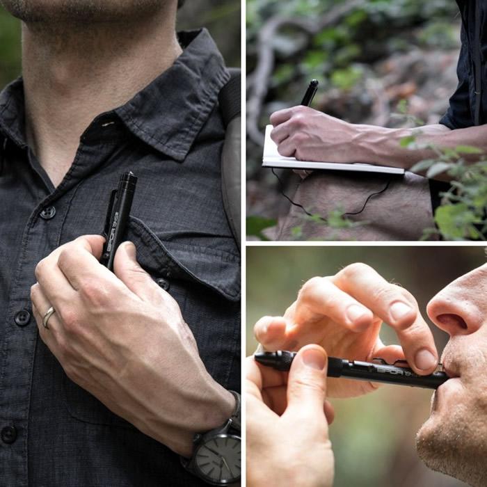 笔可用作释出求生讯号的哨子。