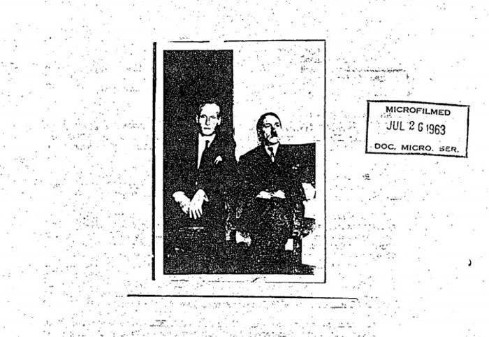 该间谍文件附有一张照片,显示相信是希特勒(右)及西特罗昂(左)本人。