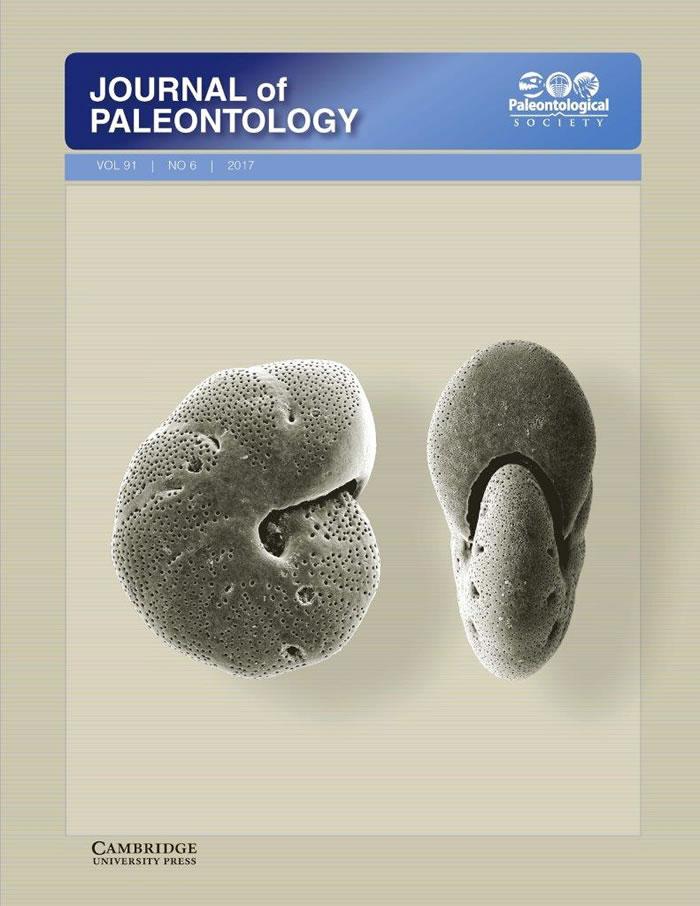 Journal of Paleontoloy 91卷第六期封面照片采用的本研究化石照片——有孔虫Melonis barleeanum,产自南通CSJA6钻孔23
