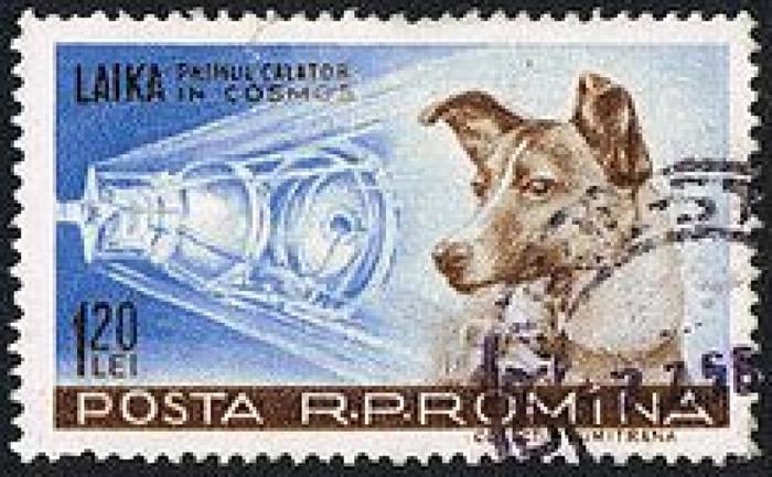 图为纪念莱卡功绩的邮票。