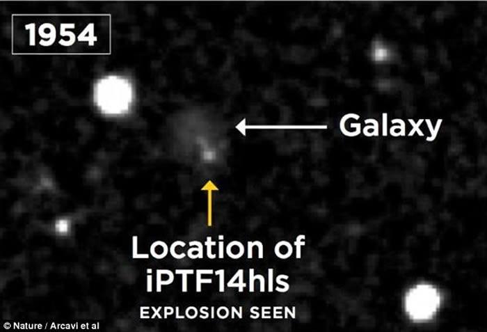 1954年在iPTF14hls的同一个位置上也发生过一系列爆炸