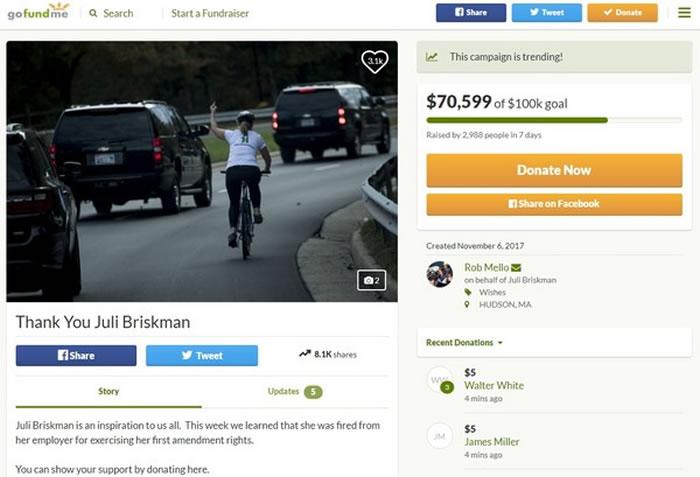 美国骑车女子对路过的特朗普车队竖中指被炒鱿鱼,网友帮她发起募款活动。