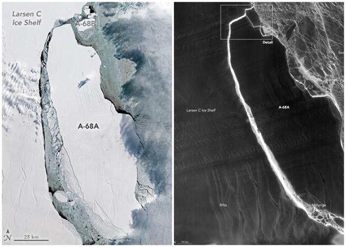 冰山于本年9月的时候(图左)和7月时(图右)的比较。