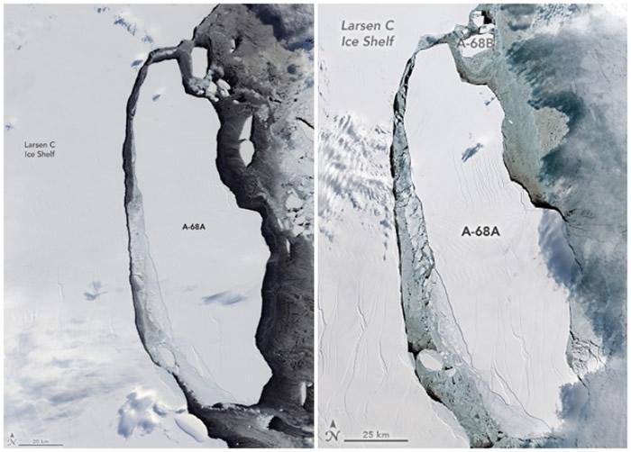 图片左边于8月拍摄,当时碎冰并未有扩大。右边于9月拍摄,冰山亦开始自本体分离。