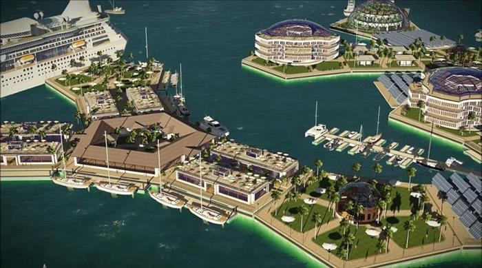 海上城市以不同平台构成。
