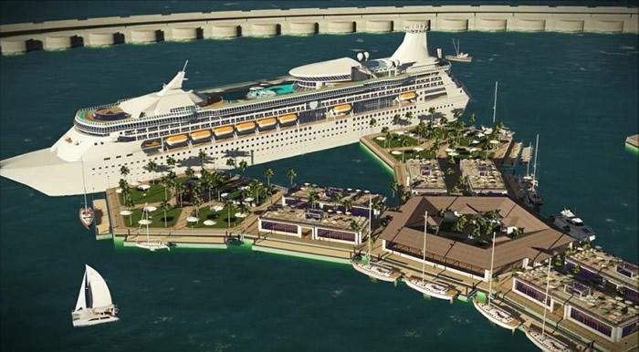 邮轮可泊入海上城市之内。
