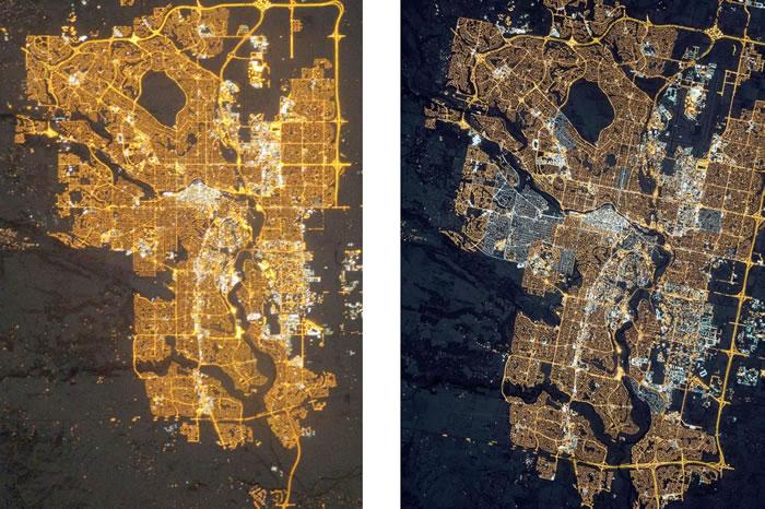 上方这两张加拿大卡加立的卫星影像,由国际太空站摄于2010年(左)与2015年(右)。相较于2010年的影像,2015年的影像中有许多市郊区域都是新亮起来的地方