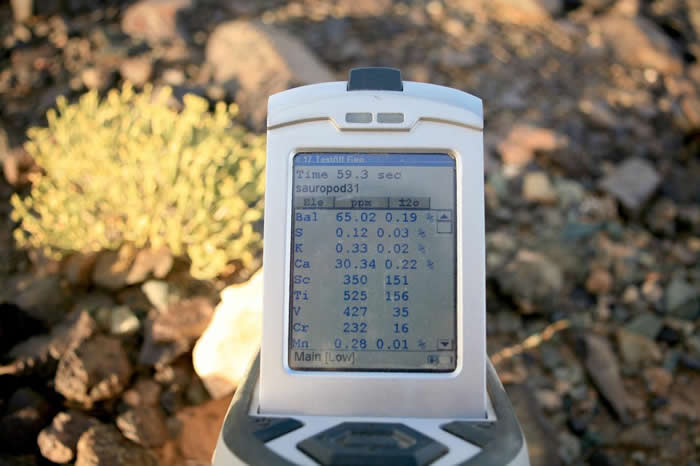 携带式扫瞄器几乎立刻显示岩石的元素组成细节。 PHOTOGRAPH BY PHIL BELL