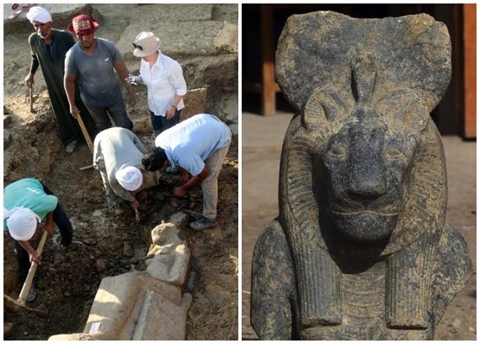 考古学家在乐蜀出土女神像。
