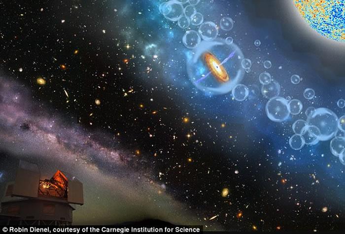 天文学家发现最古和最巨大的超级黑洞。图为该黑洞所属的类星体构想图。