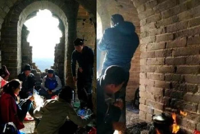 没公德登山客居然在北京蟠龙山长城内生火煮饭