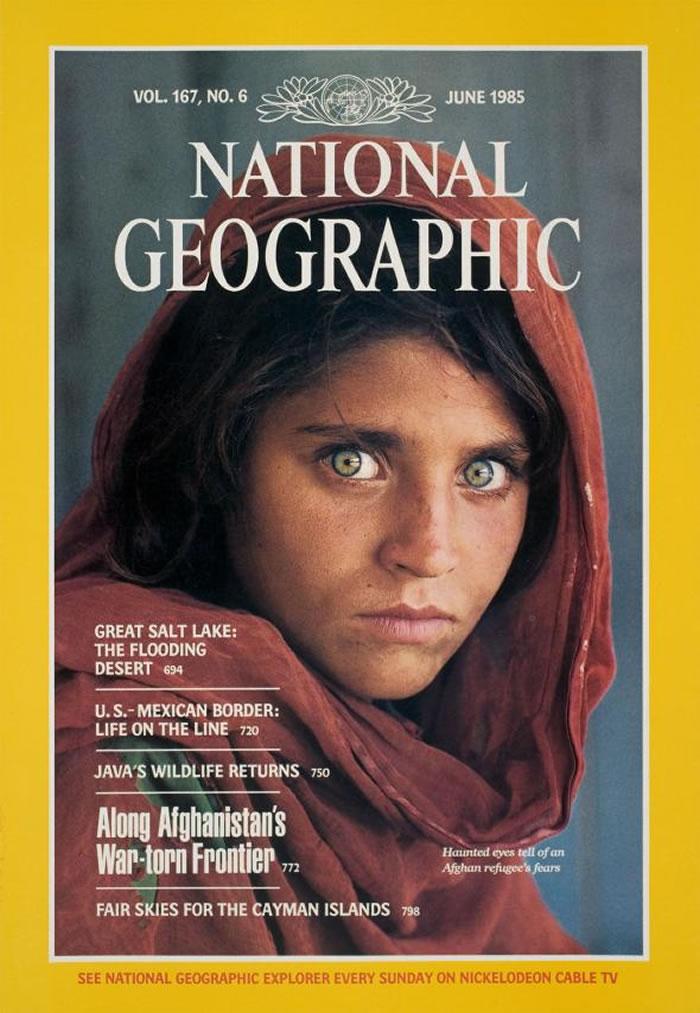 《国家地理》杂志1985年6月刊让「阿富汗少女」成为全球知名的人物。 COVER PHOTOGRAPH BY STEVE MCCURRY, NATIONAL G