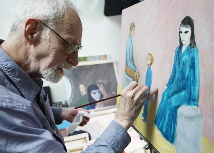 哈金斯将自己经历用油画纪录下来。
