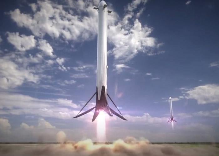 """""""猎鹰重型""""发射后,其推进器将降落回地球。"""