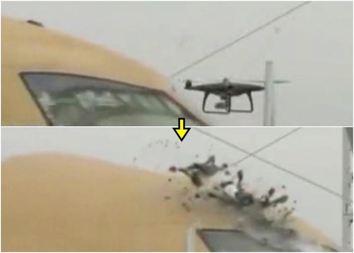 """客机高速驶向无人机,将无人机撞至""""粉身碎骨""""。"""