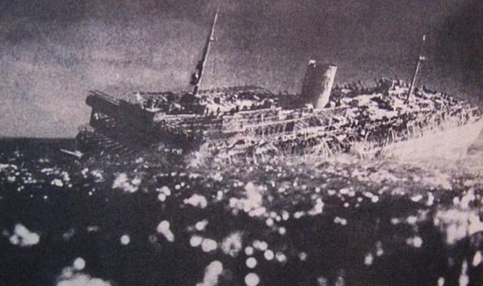 MV威廉?古斯特洛夫号邮轮沉没模拟图。