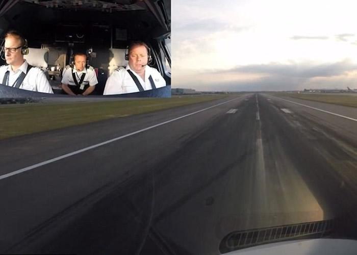 飞机移动至跑道后,瓦尔斯沃尔斯(小图右)正加大马力起飞。