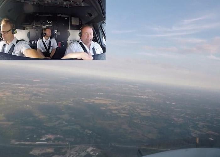 飞机升空后,机组人员可以从驾驶舱看到伦敦郊区的田园景色。