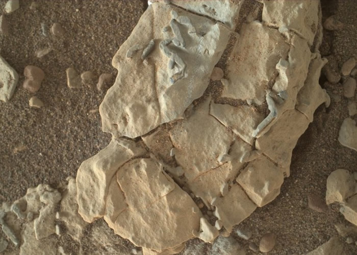"""好奇号拍到火星表面岩石""""棒状物"""" 发现远古生命遗迹化石?"""
