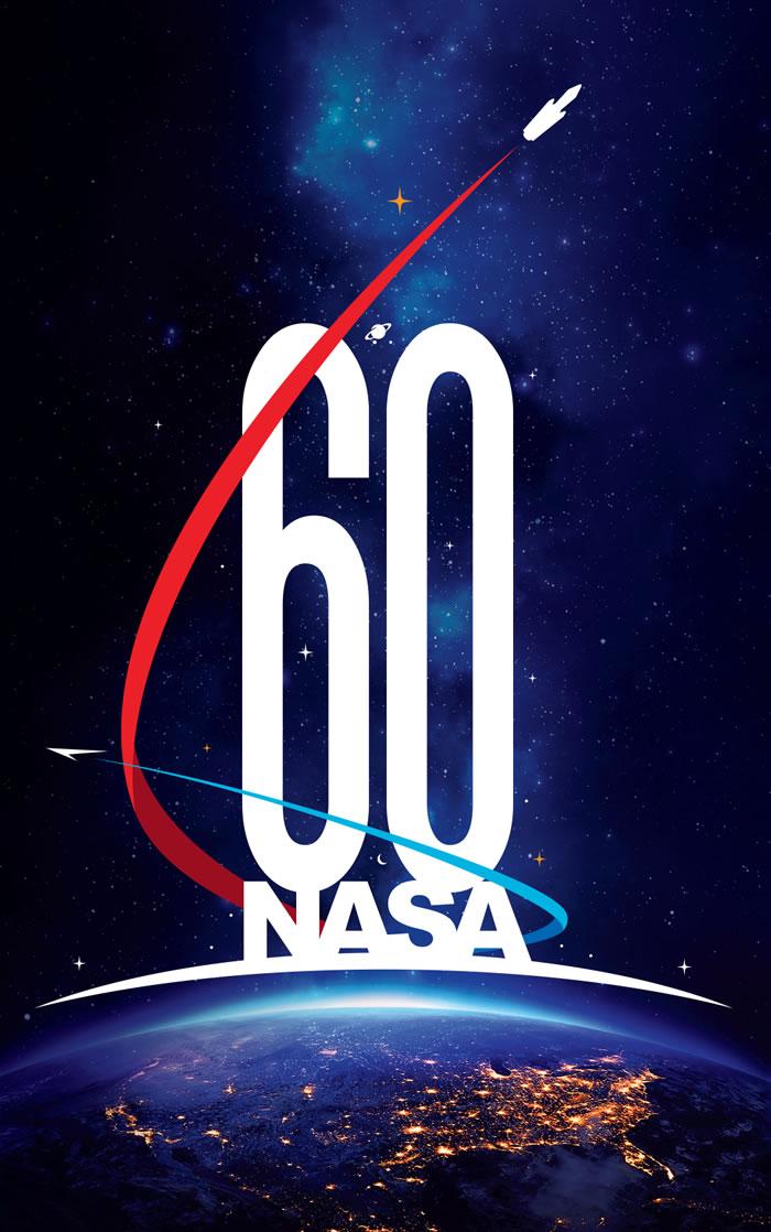 美国航太总署(NASA)成立60周年纪念标识,60和NASA位在地球圆弧和美国领土之上,是从牛顿的名言「如果我看得比别人更远,那是因为我站在巨人的肩膀上」获得的