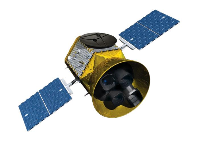 TESS上配备四部广角望远镜用来观测凌星的现象。影像来源:NASA