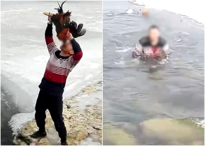 辽宁省朝阳市男子在大凌河冰面直播食活鸡 专家:低俗