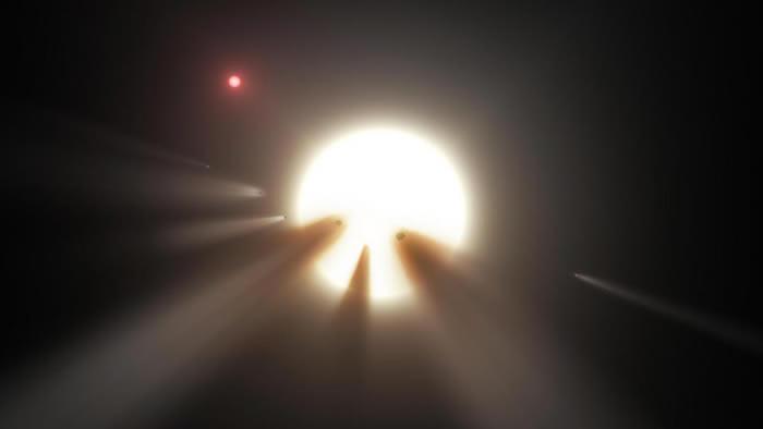另一个理论是有一群彗星经过博亚吉安之星前方,因而导致这颗恒星的亮度下降。 ILLUSTRATION COURTESY NASA