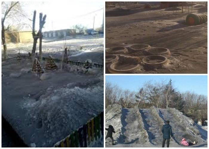 哈萨克斯坦中部城市铁米尔套降黑雪